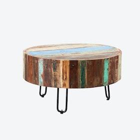 Reclaimed Wood Drum Coffee Table