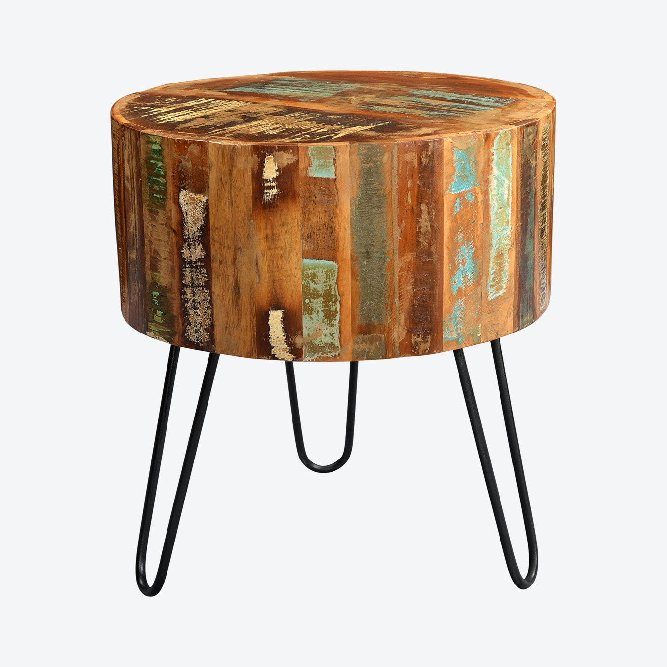Side Table India.Reclaimed Wood Drum Side Table