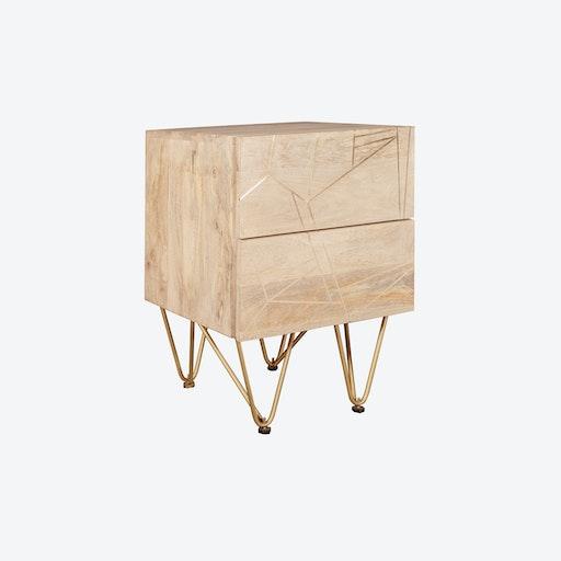 Light Gold 2 Drawer Side Table
