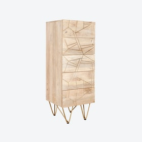 Tall Light Gold Chest of Drawers