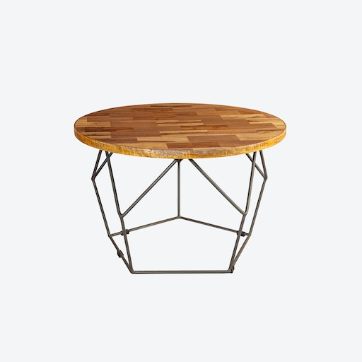 Round Coffee Table w/ Metal Inlay