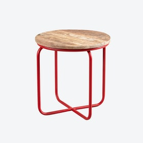 Mango Wood Round Stool Red Legs