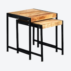 Mango Wood Nest of 2 Tables