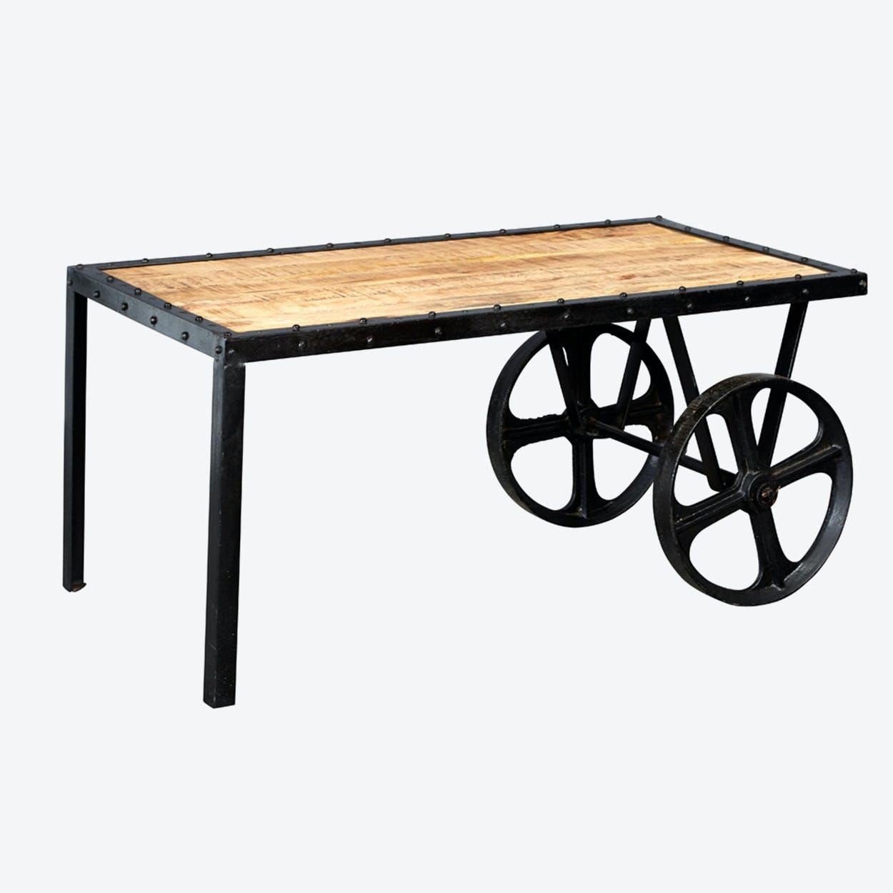 Mango Wood Cart Coffee Table