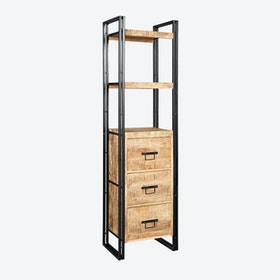 Mango Wood Slim Bookcase