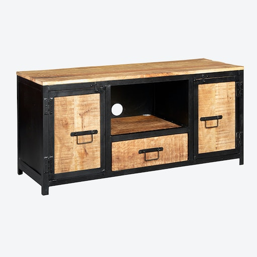 Mango Wood Plasma Media Unit in Black Metal