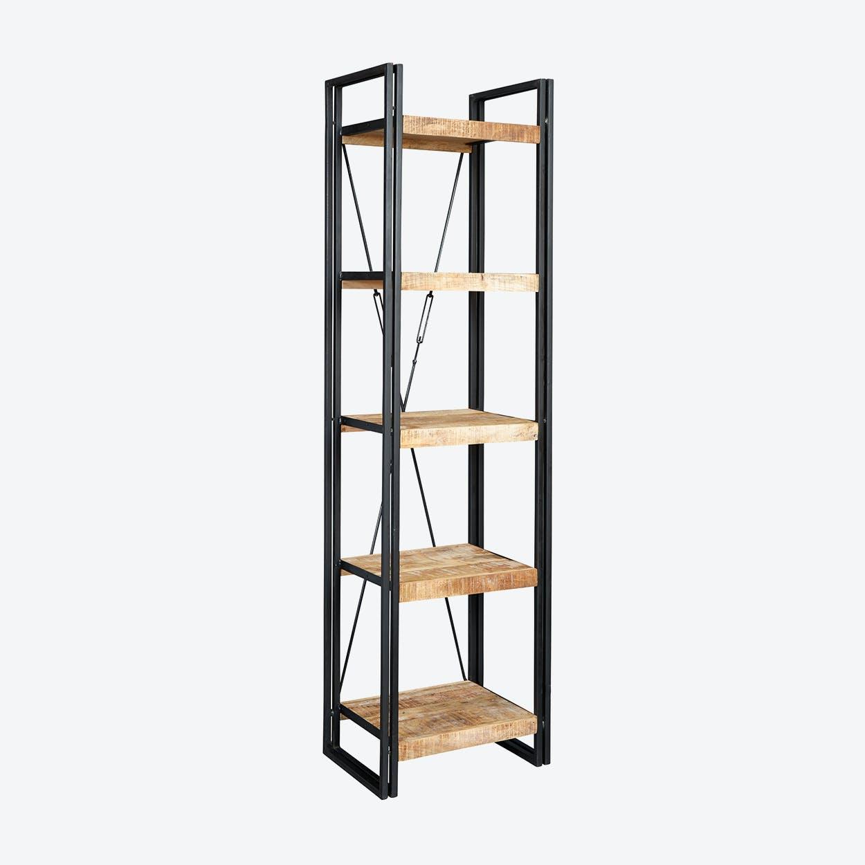 Mango Wood Slim Open Bookcase
