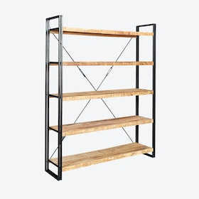 Mango Wood Large Open Bookcase