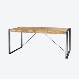 Mango Wood Metal & Wood Dining Table - Large