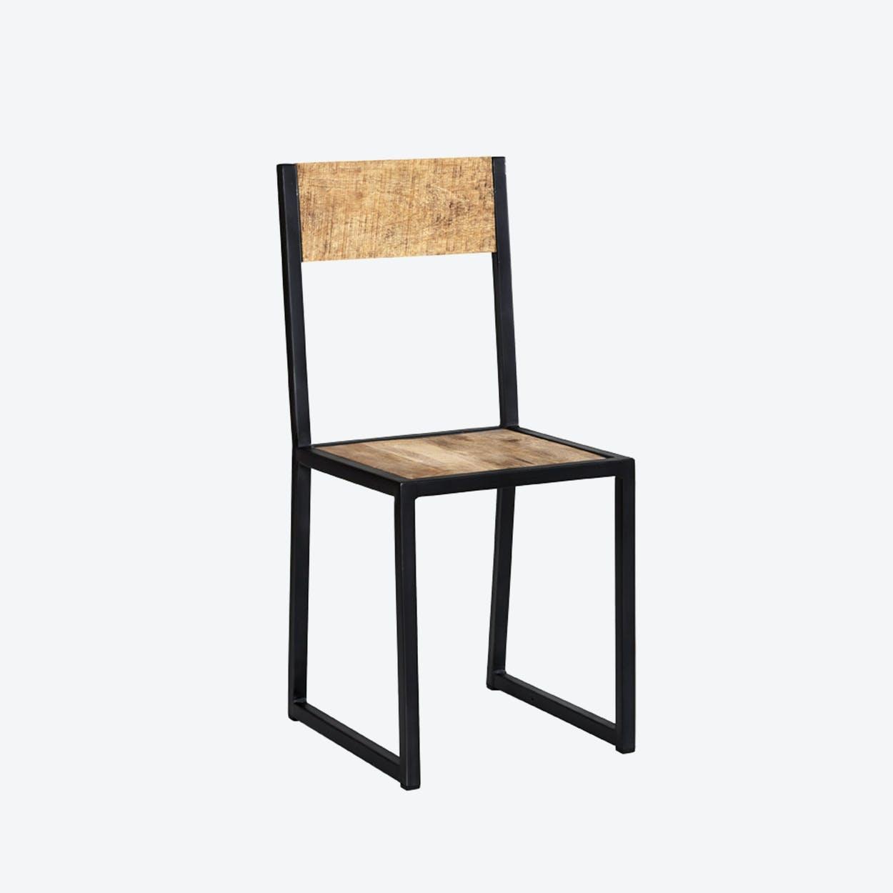 Mango Wood Metal & Wood Dining Chair