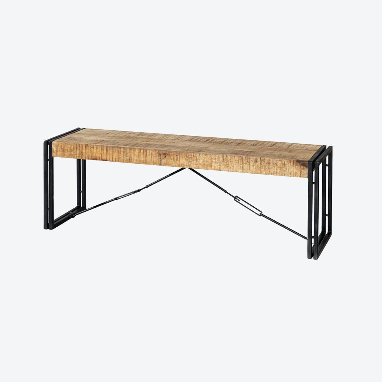 Mango Wood Metal & Wood Bench