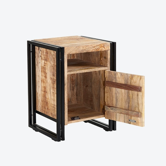Mango Wood Side Table With Door By Indian Hub Fy