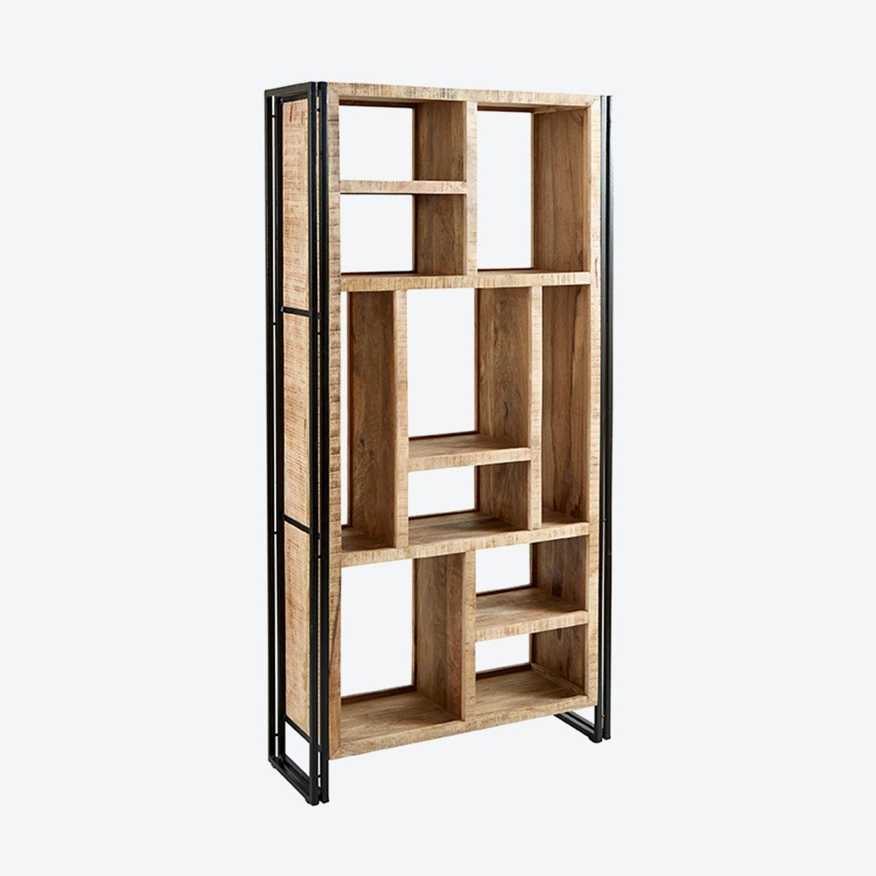 Mango Wood Multi Shelf Bookcase By Indian Hub Fy