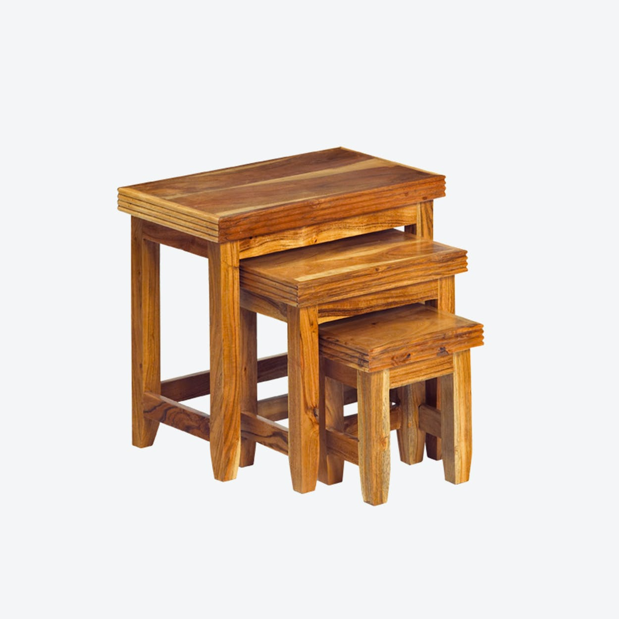 Wooden Reed 3 Piece Nest of Tables