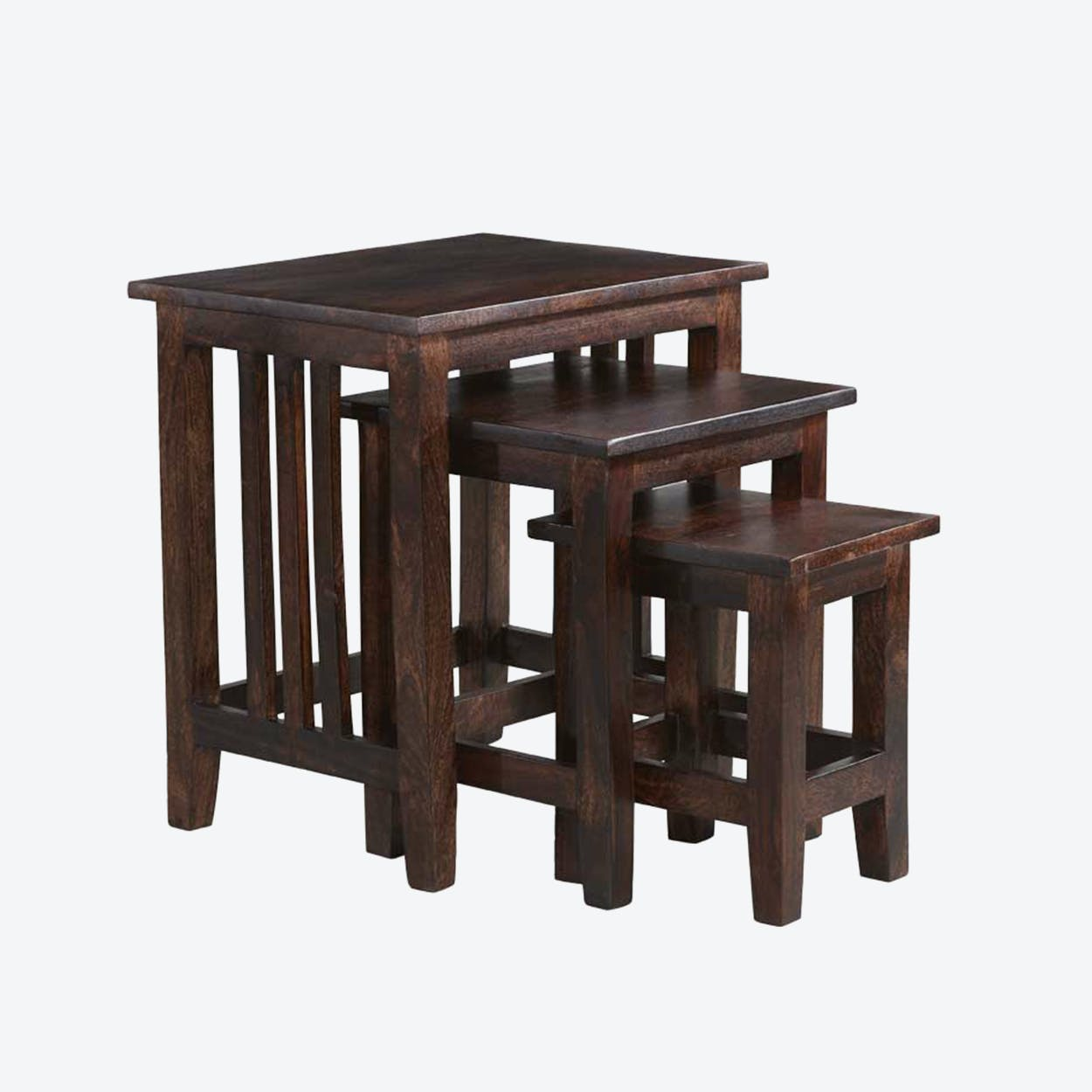 Wooden Mango Large Nest of 3 Tables