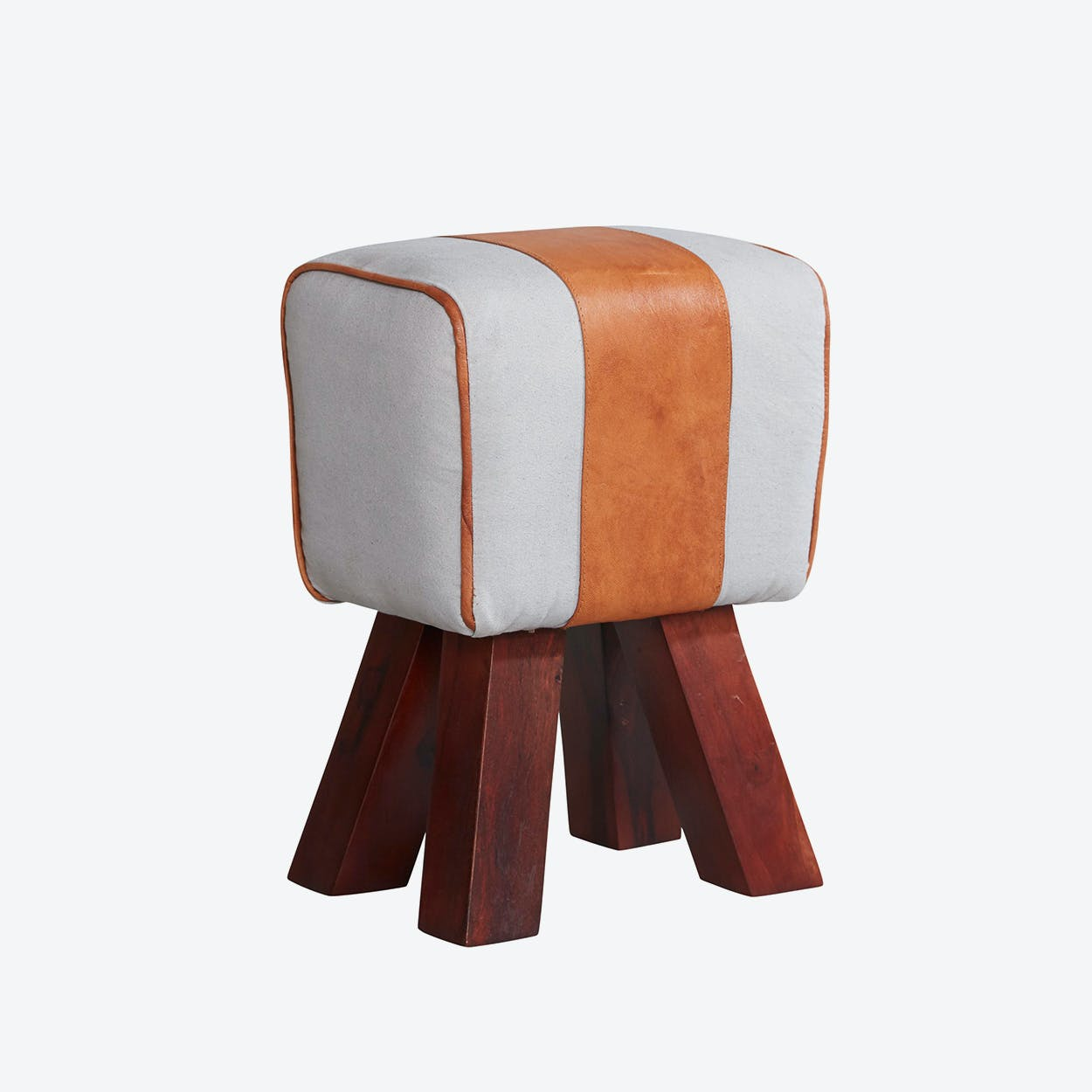 Wooden Canvas And Leather Stool