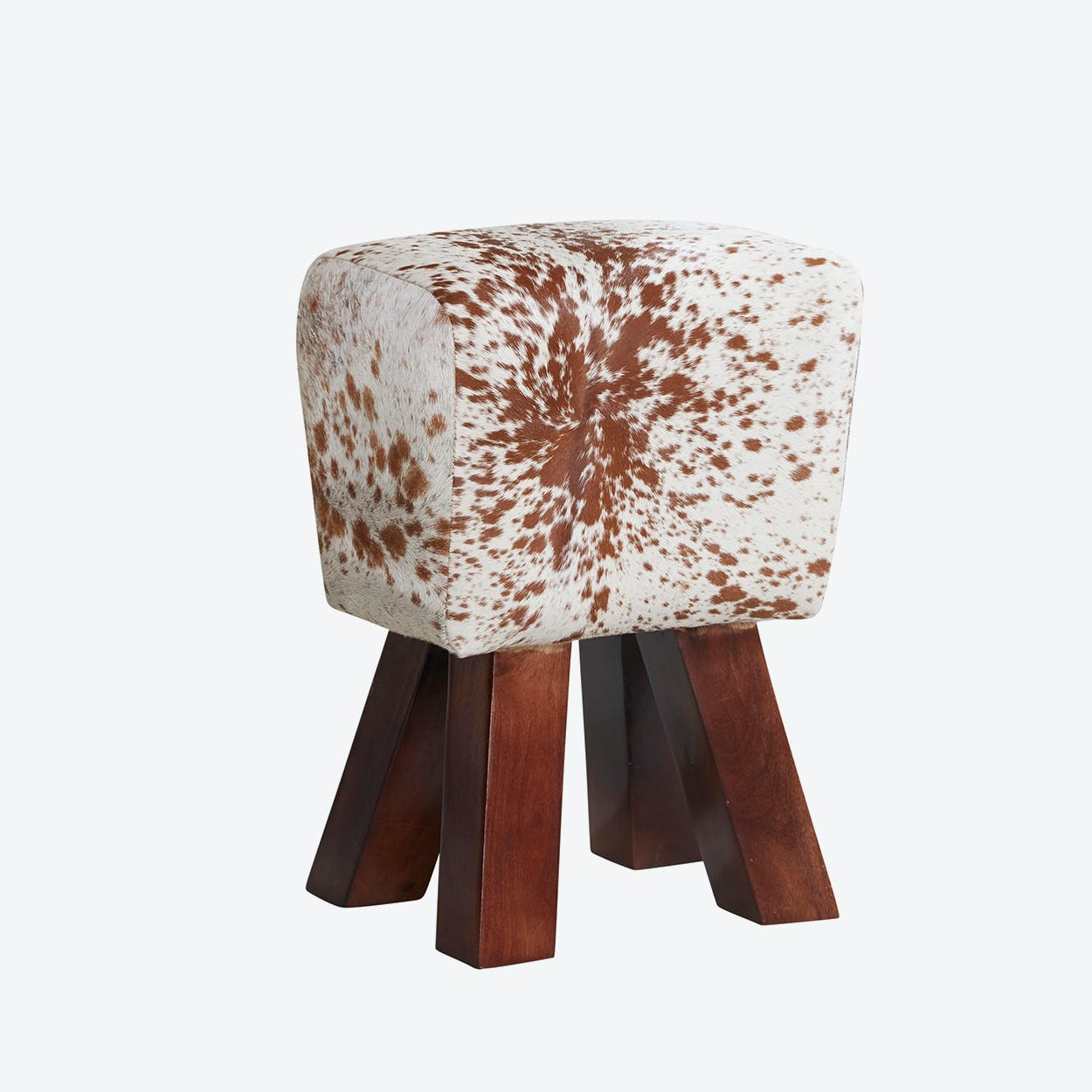 Wooden Cowhide Stool Natural