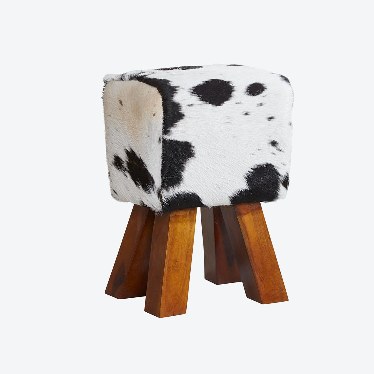 Wooden Cowhide Stool Dark