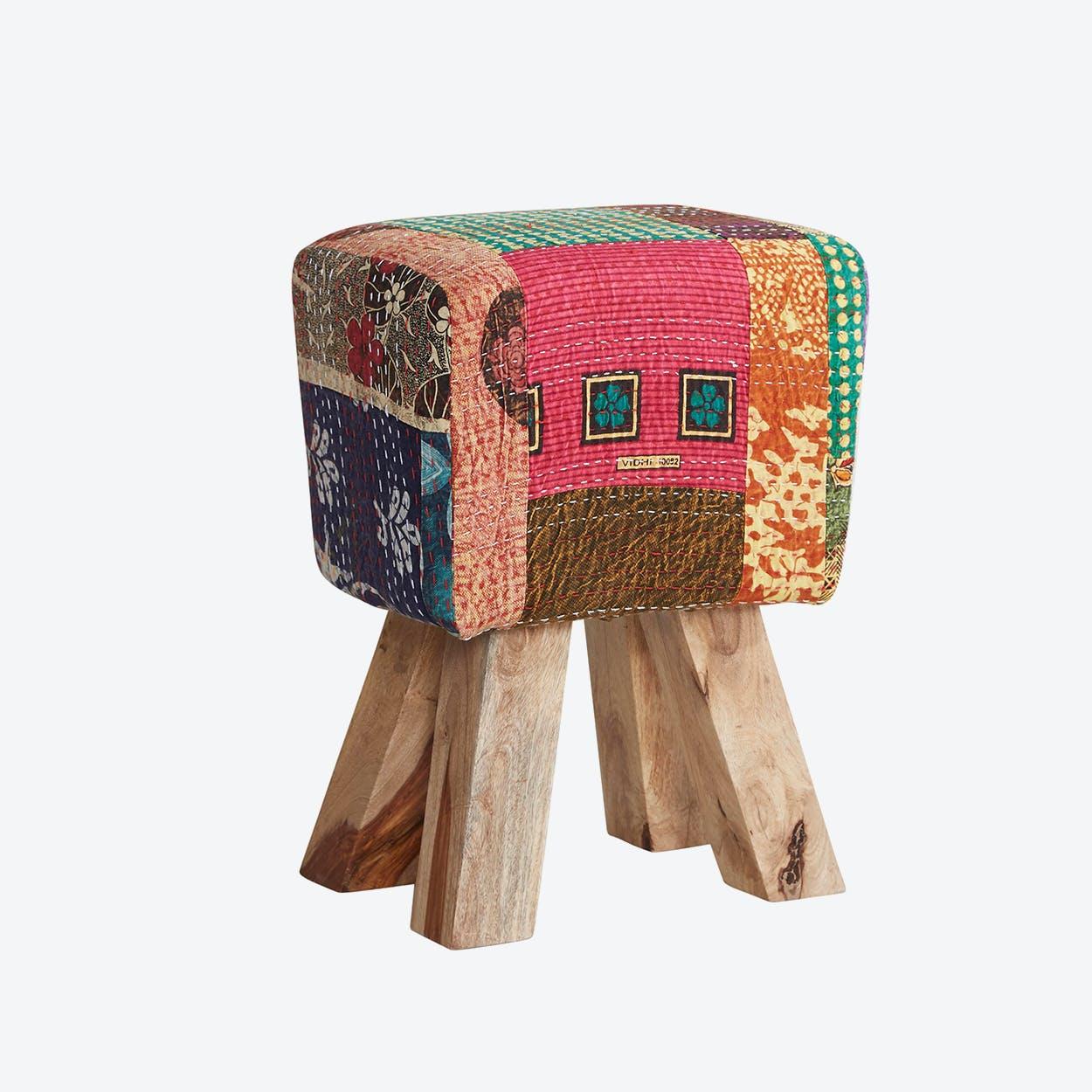 Wooden Multi Colour Fabric Stool