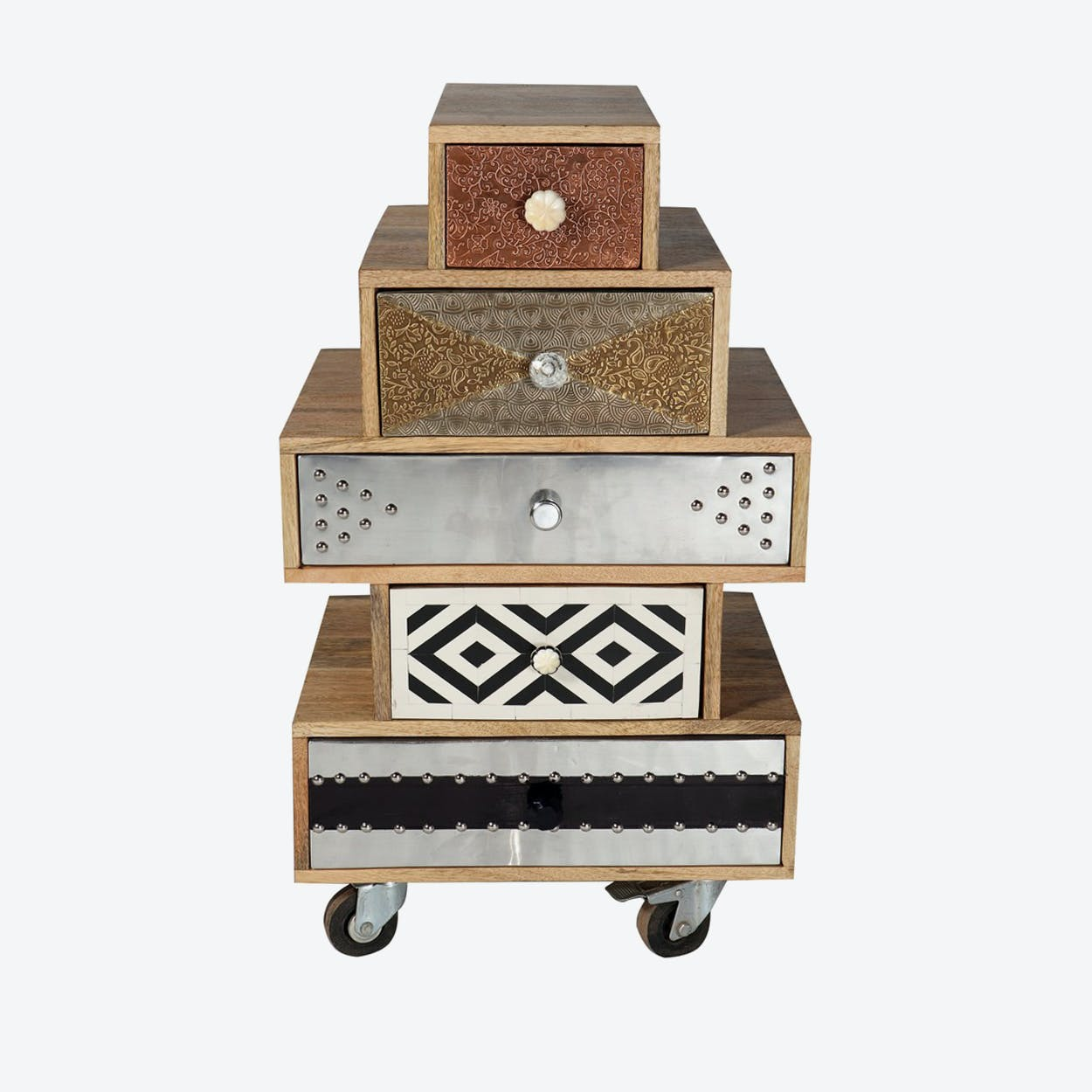Reclaimed Wood 5 Drawer Small Chest