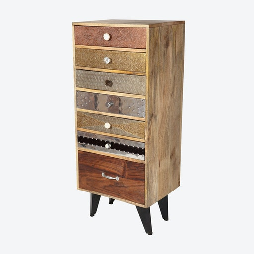 Reclaimed Wood 7 Drawer Tall Chest