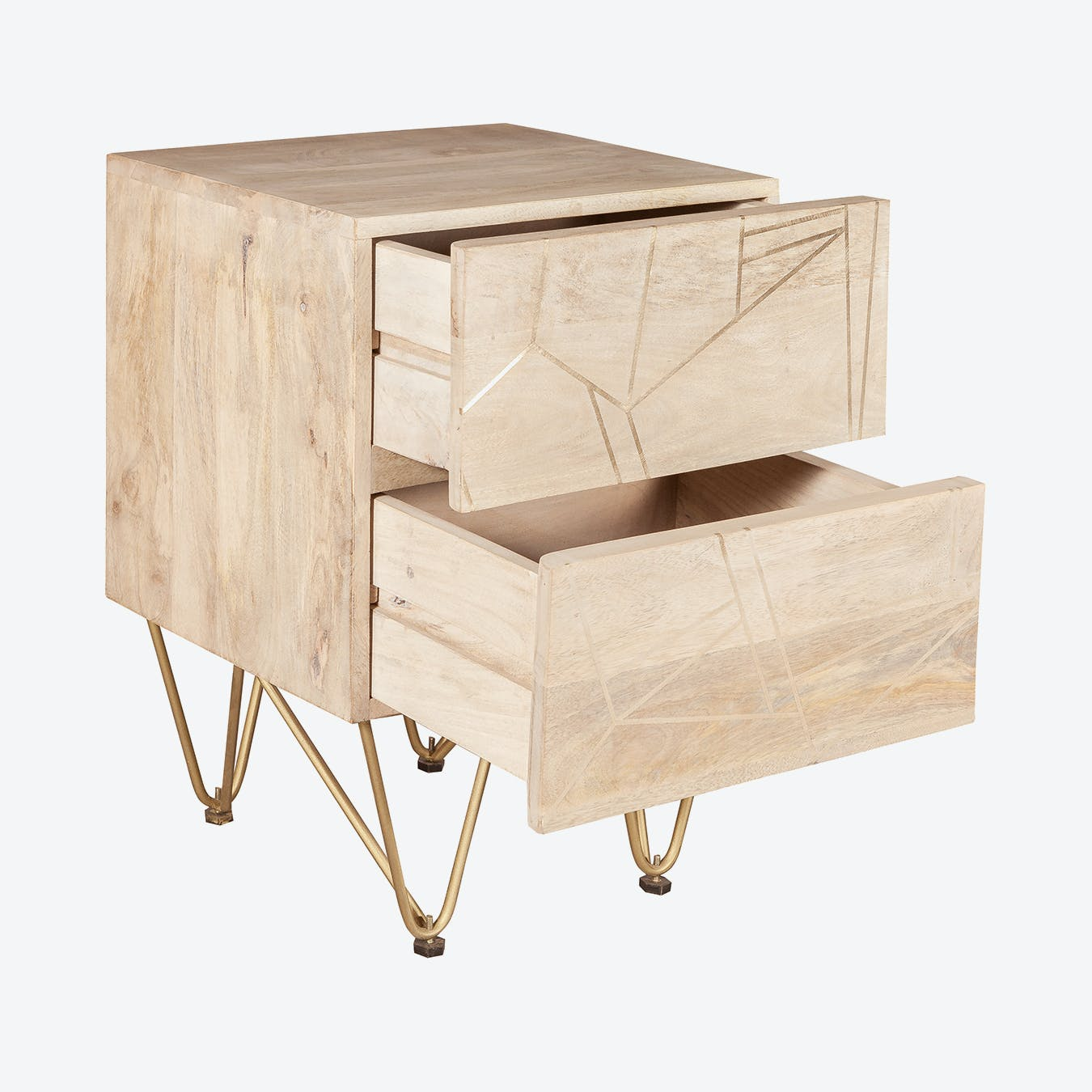 Light Gold 2 Drawer Side Table