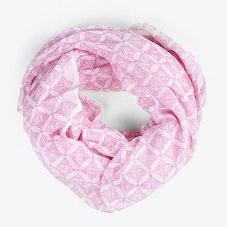 Block Print Tile Scarf in Hot Pink