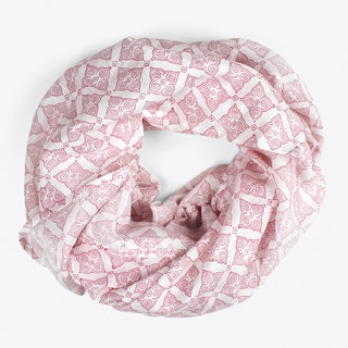 Block Print Tile Scarf in Plum