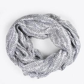 Block Print Aztec Scarf in Grey