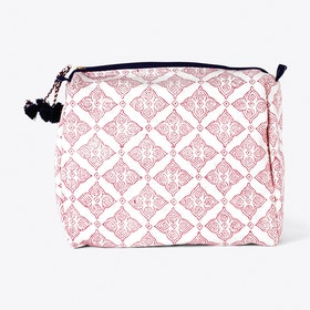 Block Print Tile Washbag in Plum