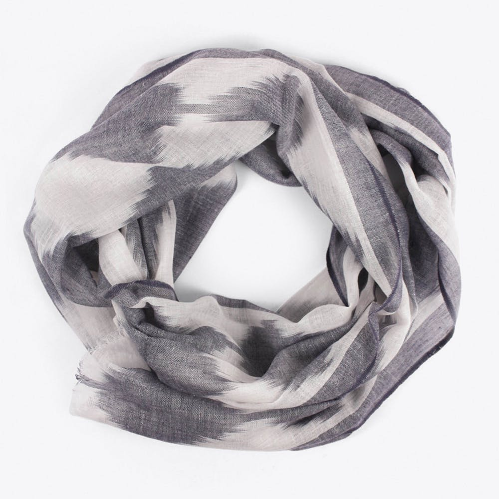 Ikat Diamond Scarf in Charcoal