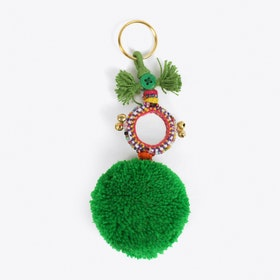 Pom Pom Keyring in Green