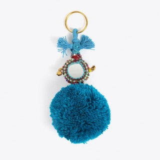 Pom Pom Keyring in Blue