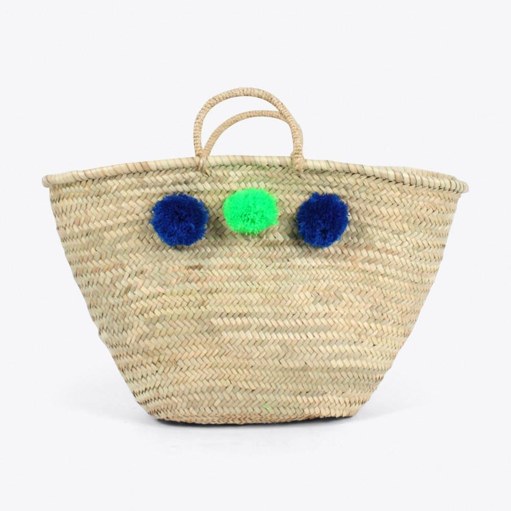 Market Pom Pom Basket in Blue & Green