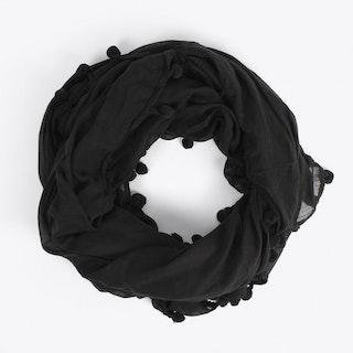 Pom Pom Scarf in Black