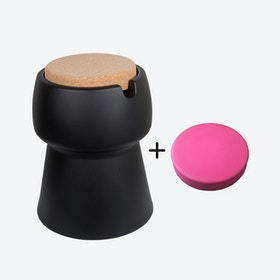 Champ Stool/Cooler in Black: Cork + Pink Outdoor Cushion