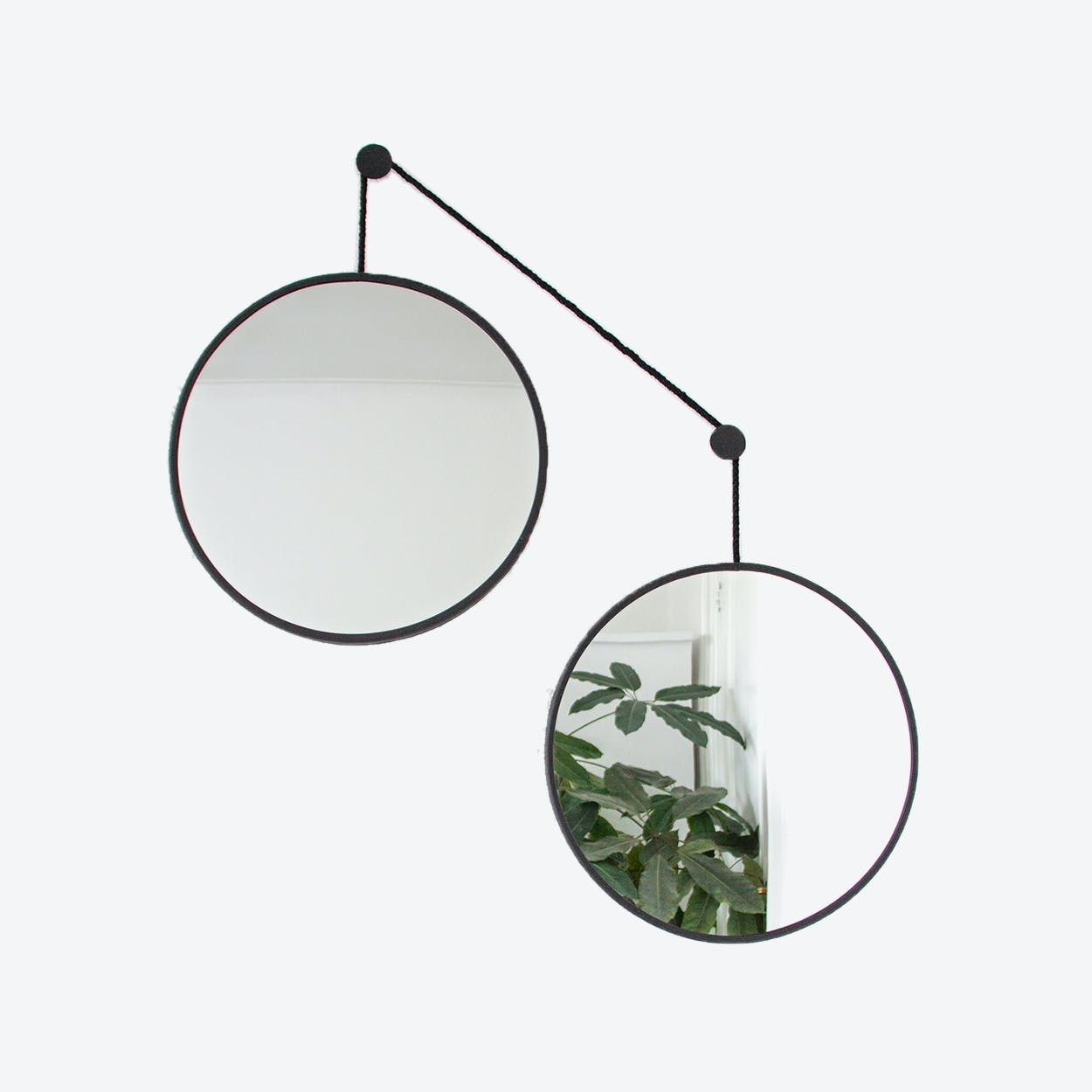 Mirror set TWINS in Black with Black Cord