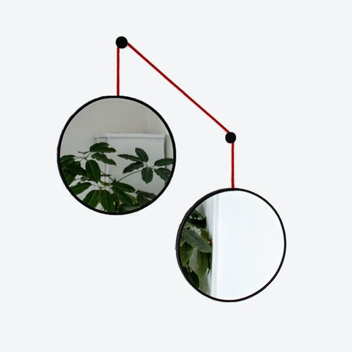 Mirror Set TWINS in Black with Red Cord