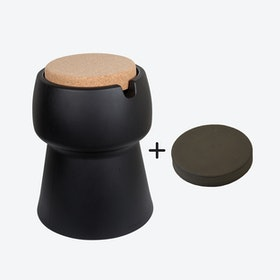 Champ Stool/Cooler in Black: Cork + Grey Outdoor Cushion