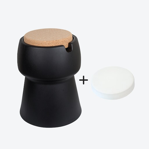Champ Stool/Cooler in Black: Cork + White Outdoor Cushion