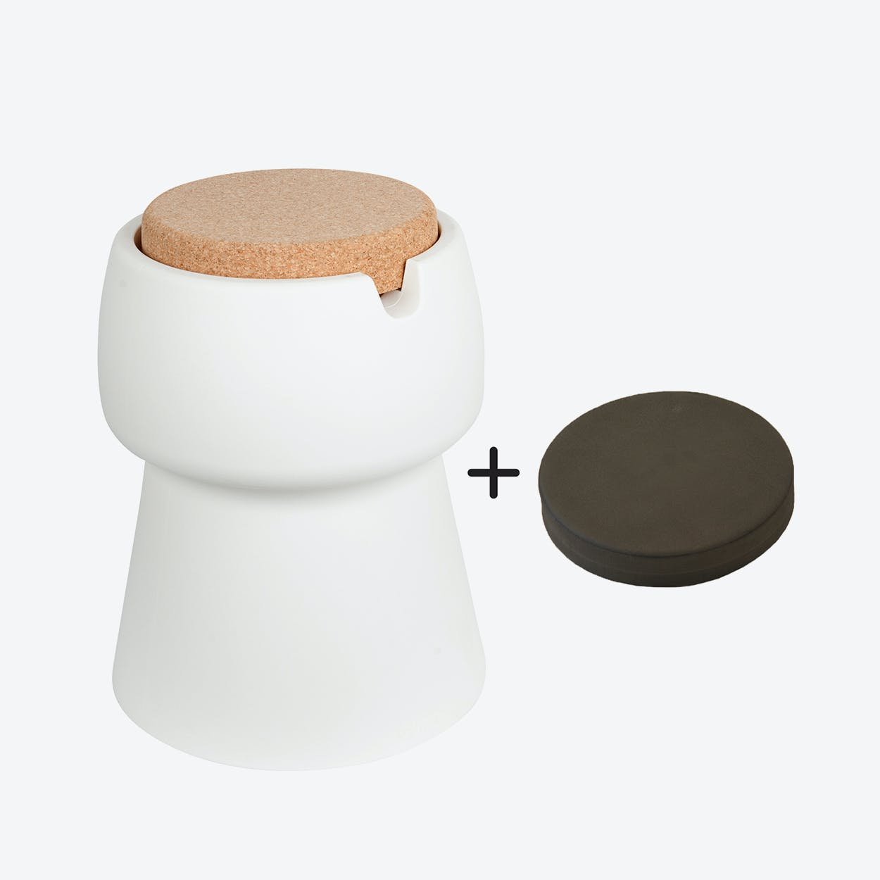 Champ Stool/Cooler in White: Cork + Grey Outdoor Cushion