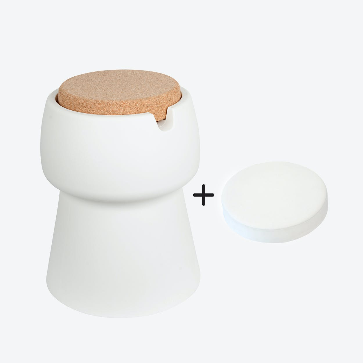 Champ Stool/Cooler in White: Cork + White Outdoor Cushion