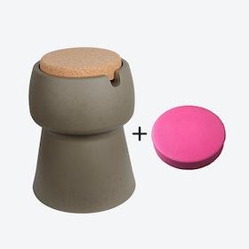 Champ Stool/Cooler in Khaki: Cork + Pink Outdoor Cushion