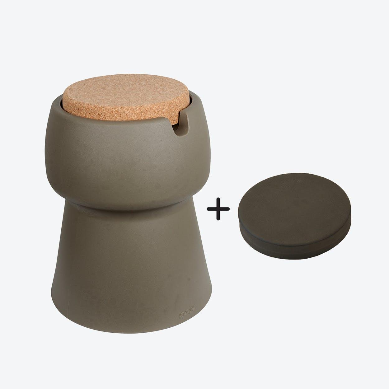 Champ Stool/Cooler in Khaki: Cork + Grey Outdoor Cushion