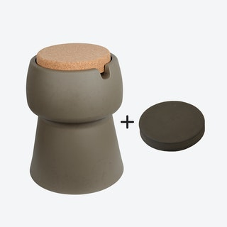 Champ Stool/Cooler in Khaki: Cork + Grey Outdoor Cushion