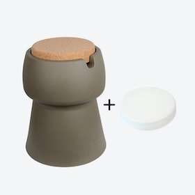 Champ Stool/Cooler in Khaki: Cork + White Outdoor Cushion