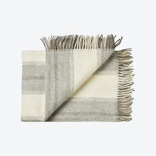 Bornholm Wool Throw in White-Dark Grey Stripe