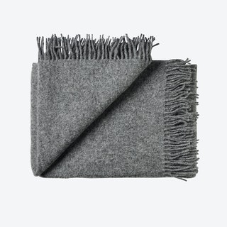 Athen Wool Throw in Dark Grey