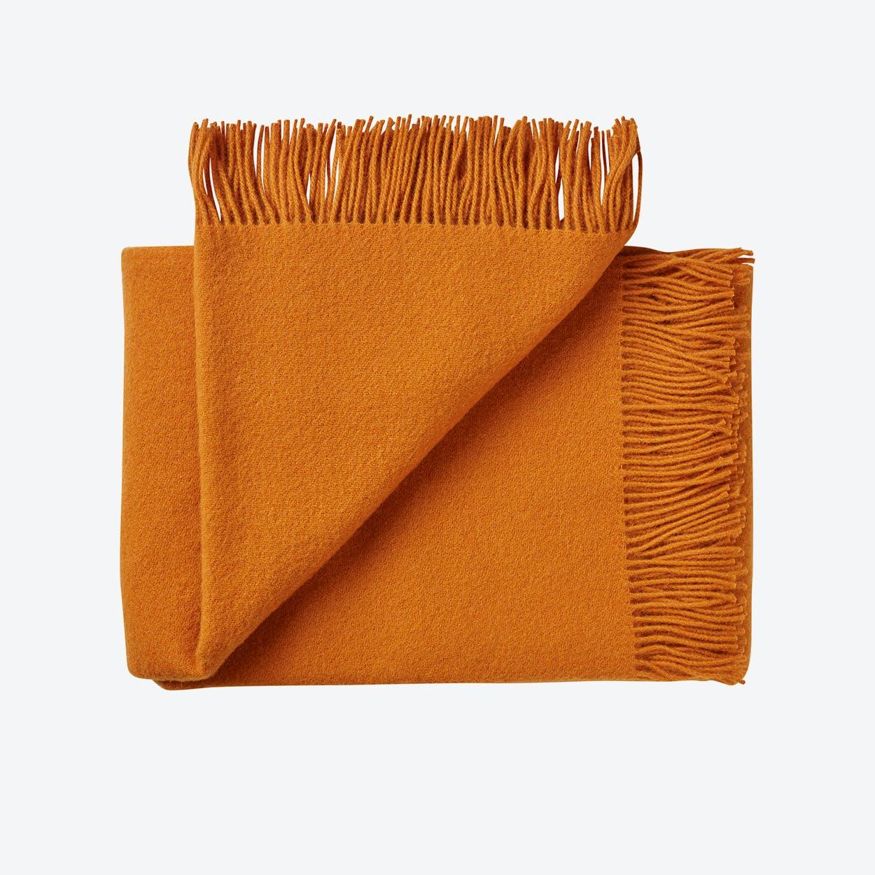 Athen Wool Throw in Pumpkin Spice-Orange