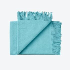 Athen Wool Throw in Aqua Marine Blue